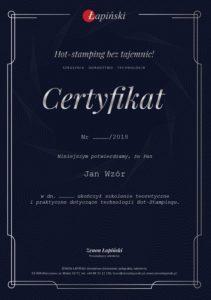 Aktualny wzór certyfikatu zaświadczający o ukończeniu szkolenia